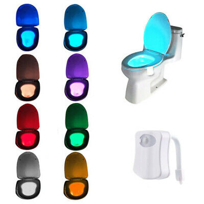 Bathroom Home LED Toilet Seat Light Motion Activated Night Sensor 8-Colors Lamp
