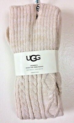 a1c044ad9a5 NEW UGG Socks Over The Knee Classic Cable Knit Cream Womens 9-11 Ships Free