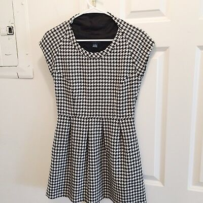 e80f14f1e11d Hawks Anthropologie Dress Flare Tweed Houndstooth Black White Size Small