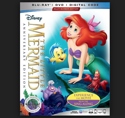 Disney The Little Mermaid Blu Ray & DVD & Digital Code 2019 Movie 2 Disc Set NEW