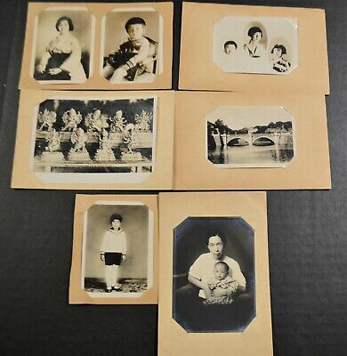 7 Antique Vintage Japanese Family & Other B&W Photographs Circa 1930-1940's