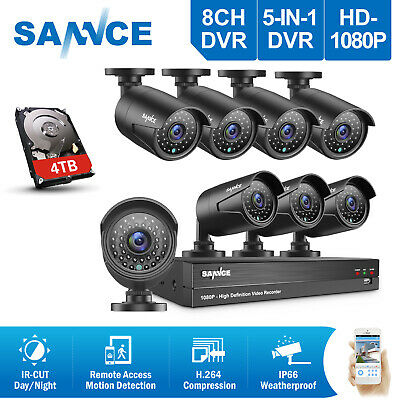 SANNCE 5in1 1080P 4CH / 8CH DVR 2MP Outdoor CCTV Security Camera System IR CUT