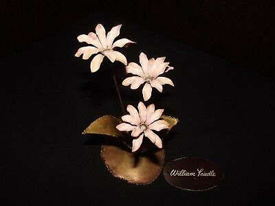 William Friedle Ny Signed Brass Sculpture Pink Flowers