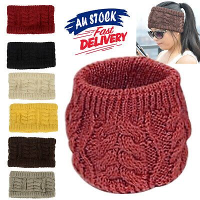 Women Tail Messy Stretch Bun Ponytail Band Crochet Skull Head Beanie Knit Hat