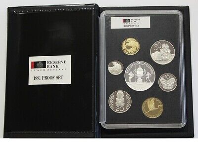 1991 Reserve Bank of New Zealand 7 coin proof set incl $5 Rugby World Cup coin