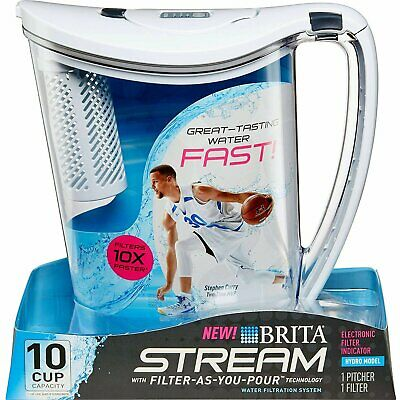 Brita 10-Cup Stream Filter as You Pour Water Pitcher with 1 Filter, Hydro, BPA F