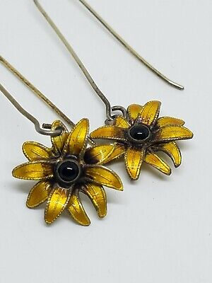 Vintage Sterling Silver Yellow Enamel Sunflower Dengle Earrings