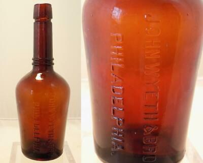 Antique John Wyeth & Brother Philadelphia Amber Malt Extract Bottle 1899 BIM