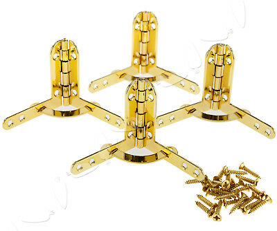 4x Chrome Plated Quadrant Hinges for Small Boxes Cases 39.5 X 42.5MM Gold