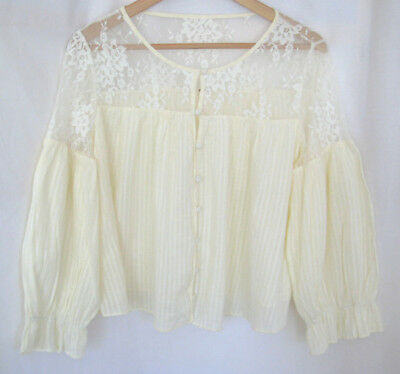 f0410cff81553 NWOT Free People Ivory sheer lace gauze cotton long sleeve button front top  SzL