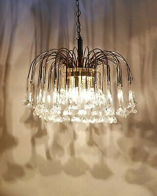 Vintage Murano 3-Tier Italy Glass Floral Waterfall Chandelier Brass Pendant