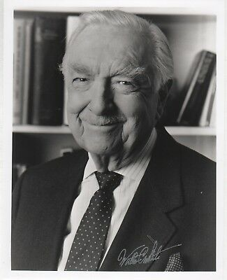WALTER CRONKITE Autographed 8x10 B&W Photo Signed in Silver COA 068