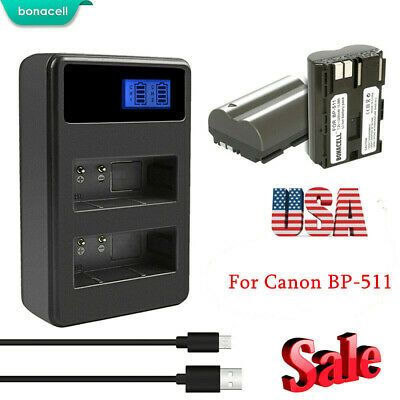1100mAh Battery + Charger For Canon BP-511 BP-511A EOS 5D, 50D
