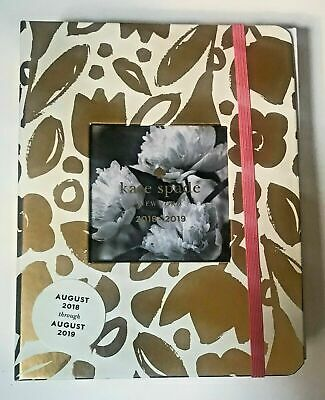 KATE SPADE New York Agenda Planner Golden Floral Journal 2018 2019 Spiral NEW!