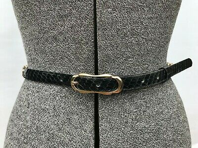 Vintage Francois black snakeskin leather ladies belt Made in Italy 88.5cm long