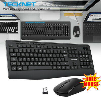 TeckNet UK QWERTY 2.4GHz Wireless Keyboard and Mouse Set Ergonomic for PC Laptop