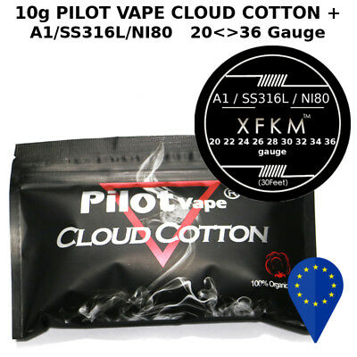 10g PILOT VAPE CLOUD COTTON+ A1/NI80/SS316L 20 22 24 26 28 30 32 34 36 gauge awg