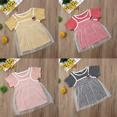 UK Toddler Kids Baby Girl Dress Gown Striped Lace Skirt Party Dresses Clothes