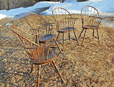 Vintage Set Of 4 Bowback Windsor Armchairs-Handmade Dearborn Museum Reproduction