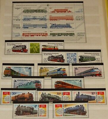 Worldwide Stamps Train Collection Complete Sets Mnh