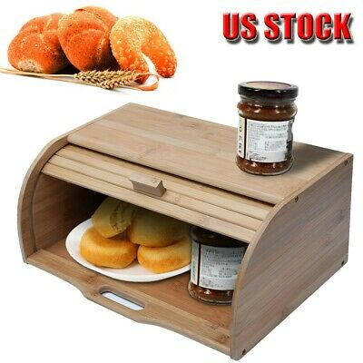 Bread Box Case Wood Kitchen Countertops Bamboo Food Storage Organizer Keeper
