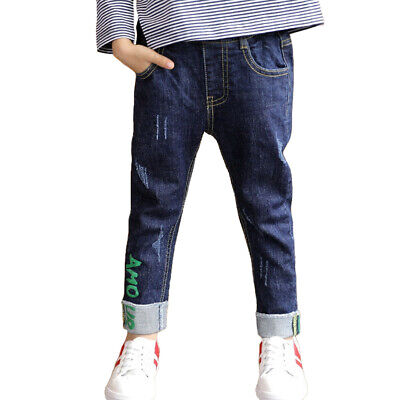 NABER Boys Slim Denim Pants Washed Elastic Waistband Skinny Jeans Age 4-14 Years