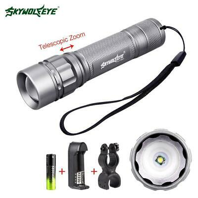 Zoomable 3500 Lumens 3 Modes Q5 LED 18650 Torch+Lamp Clamp+Charger For Travel ZH
