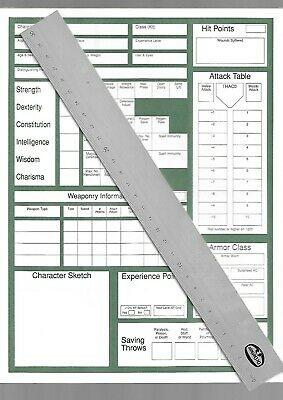 10 x TSR Character sheets - unused  - 1994