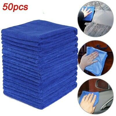 50Pcs Microfiber Cleaning Cloth Towel Rag Car Polishing No-Scratch Car Detailing