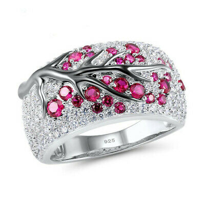 925 Silver Ruby White Topaz Women Plum Branch Ring Party Jewelry Gift Size 6-10