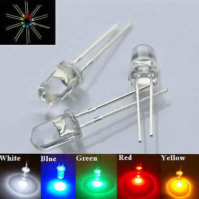 10-100Pcs 3/5mm LED Light White Yellow Red Blue Green Assortment Diodes Comely