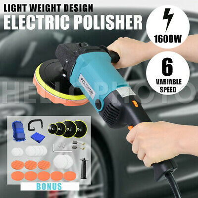 Polisher Car Buffer Sander Pad Electric Tools Kit 6 Speed 1600W 240V 180mm 150mm
