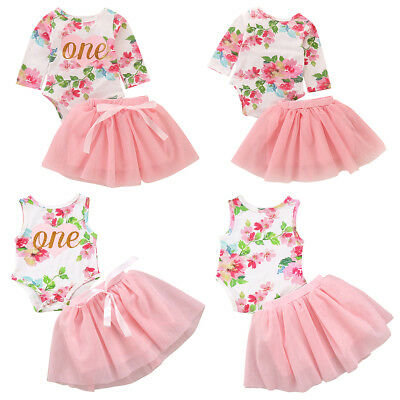 4c9eb9747 Baby Girl 1st First Birthday Outfit Tutu Skirt Cake Smash Set Floral One  Clothes