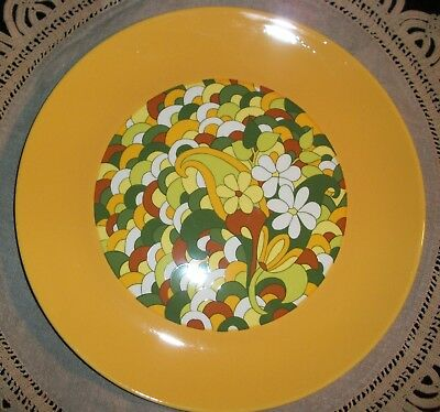 """Retro 1960's Peter Max Style Funky Flower Power Large  12"""" Round Serving Plate"""