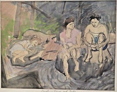 Harry Gottlieb NY Artist Three Women Watercolor Pencil Painting Signed & Framed