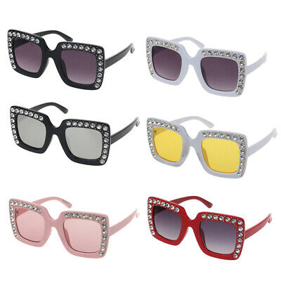 Luxury Rhinestone Kids Sunglasses Square Sun Glasses Children Baby Sunglasse New