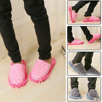 A Pair Mop Slippers Lazy Floor Foot Socks Shoes Quick Polishing Clean Dust UK