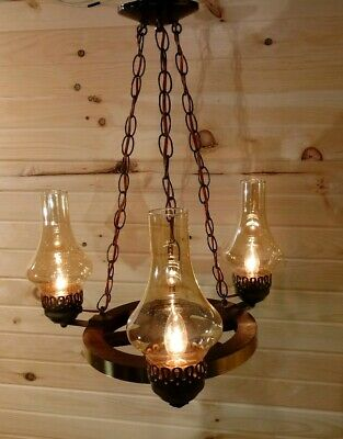 Vintage Rustic Country Cabin Wagon Wheel Chandelier Ceiling 3 Light Fixture