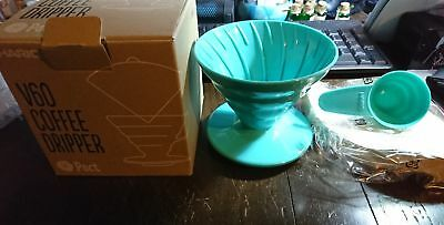 NEW Hario Pact V60 Coffee Dripper, filters & Measure Green Blue Colour