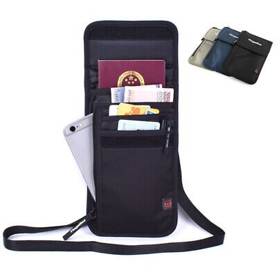 Travel Passport Holder Wallet Neck Stash RFID Blocking Security Organizer Pouch
