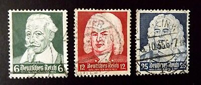 """Germany / Third Reich. 1935 """"Musicians Anniversaries"""" Set of 3 stamps. used."""