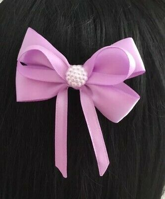 "Wedding Flower Girls Small 3"" Lilac Hair Bow Clip Lilac Pearl Bead Lilac Bow"