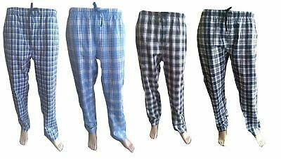 Mens 100% Cotton Pyjamas Woven Check Lounge Pants Bottoms Warm PJ Loungewear