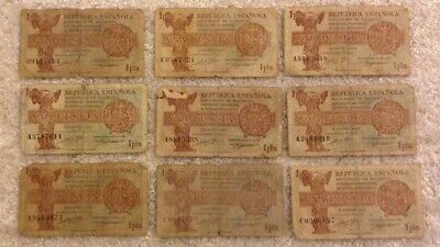 Lot Of 9 X Spain Banknotes. 1 Peseta. Dated 1937. Spanish Republic.