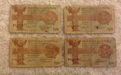 Lot Of 4 X Spain Banknotes. 1 Peseta. Dated 1937. Spanish Republic.
