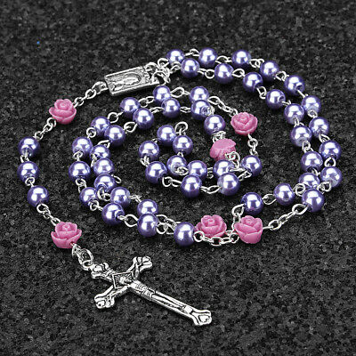 Catholic Purple Pearl Bead Rosary Necklace Our Rose Lourdes Medal Cross Crucifi