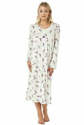 Ladies Womens Long Sleeve Brushed Fleece Nightdress Floral Nightie Size 8-22 NEW