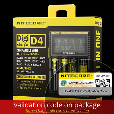 NITECORE D4 Digi charger LED For 18650 16340 14500 26650 CR123A Li-ion & Ni-MH