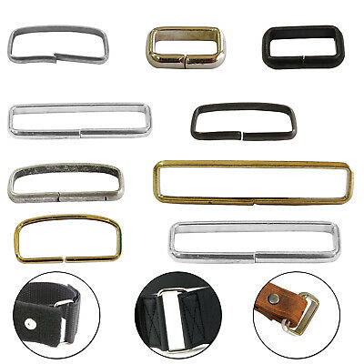 Non Welded Rectangle Metal Loop Rings For Webbing Straps Belt Bags Leather Craft