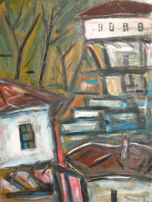 Abstract landscape houses vintage oil painting signed